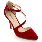 SHOE MAGNATE Bonnnibel Helga-2 Women's Closed Back Ankle Strap Stiletto Heel Dress Pumps