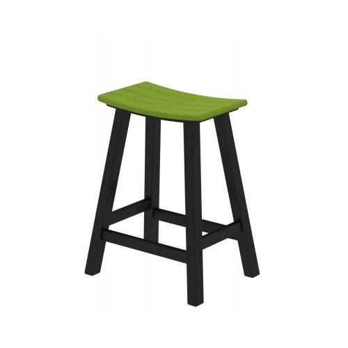"""24.75"""" Recycled Earth-Friendly Curved Outdoor Bar Stool - Green With Black Frame"""
