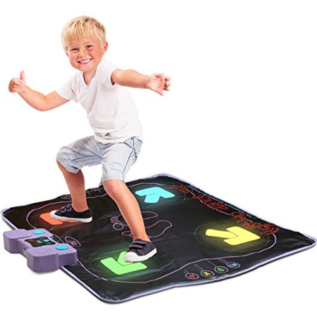 Light Up Dance Mat - Arcade Style Dance Mat with Built In Music Tracks and Bluetooth Wireless (Wired Dance Mat)