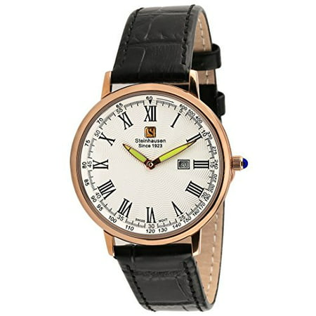 Men's Swiss Quartz Rose Gold Tone S. Steel Black Leather Watch -