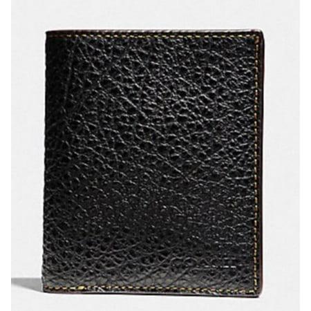 4593531ebd8ae New 8964-1 Coach Men s Black Slim Coin Textured Leather Billfold Wallet  185
