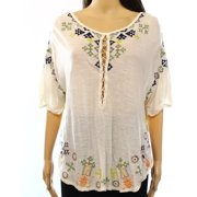 Free People NEW Beige Women's Size Medium M Embroidered Peasant Blouse