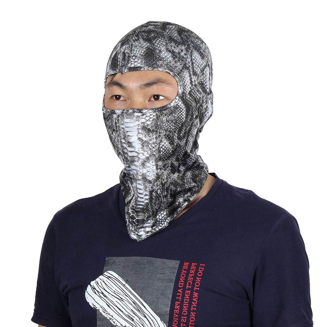 Serpentine Pattern Full Coverage Face Neck Protector Hood Helmet Balaclava Black by Unique-Bargains