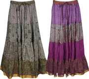 Mogul Womens Indian Vintage Silk Sari Printed Full Flare Bohemian Fashion Maxi Long Skirts Lot Of 2 Pcs