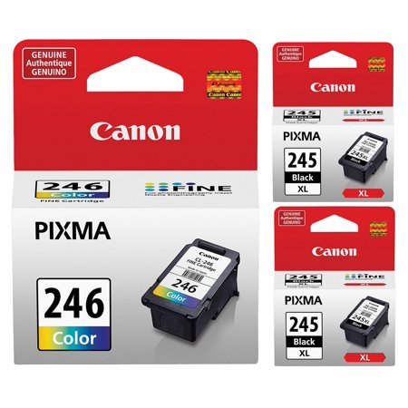 Genuine Canon PG-245 XL Black Ink Cartridge (2 pieces) + Canon CL-246 Color Ink Cartridge (Canon Ink Cl246)
