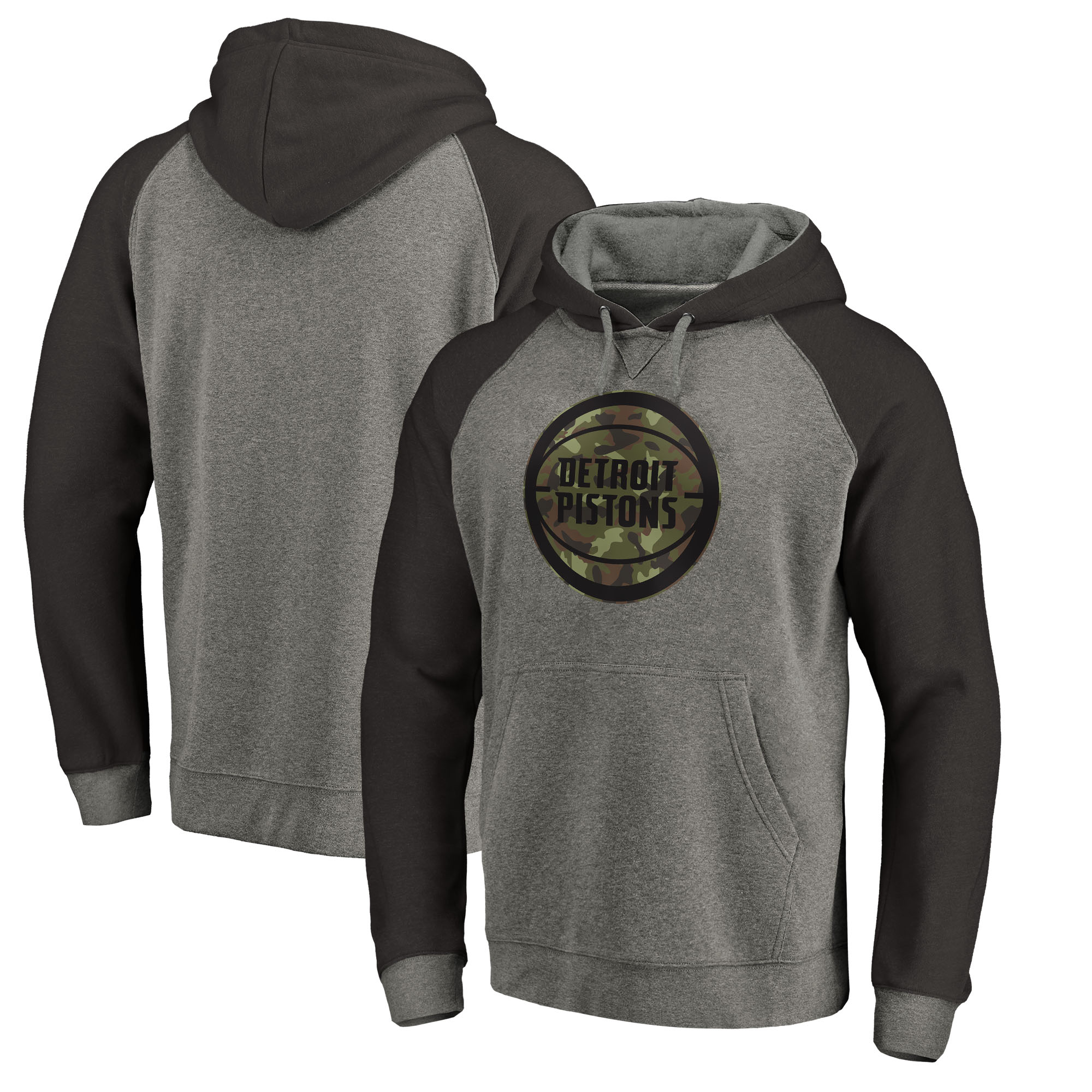 Detroit Pistons Fanatics Branded Prestige Camo Tri-Blend Pullover Hoodie - Heathered Gray