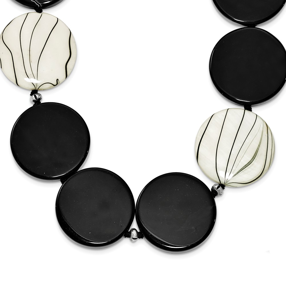 Sterling Silver 30in Black Agate/Zebra Mother of Pearl & Fabric Necklace