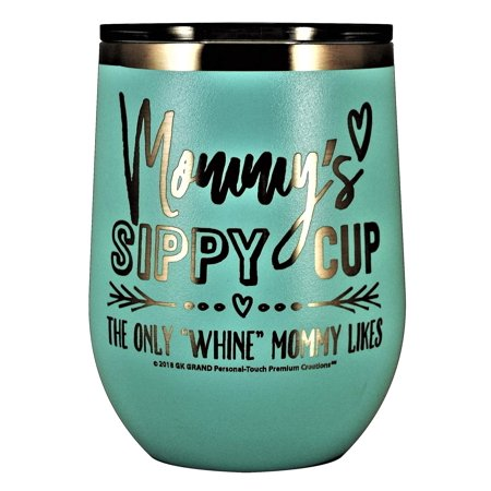 MOMMYS SIPPY CUP WINE GLASS GIFT TUMBLER â?? Engraved Stainless Steel Stemless Wine Tumbler 12 oz Vacuum Insulated Travel Coffee Mug Hot Cold Drink Mothers Day Christmas Birthday Mom (Pastel - Teal) P