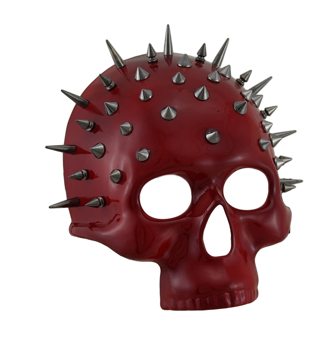 Spiked Red Half Face Skull Halloween Mask