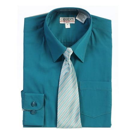 Dress Shirt Boys (Boys Teal Green Button Up Dress Shirt Striped Tie Set)