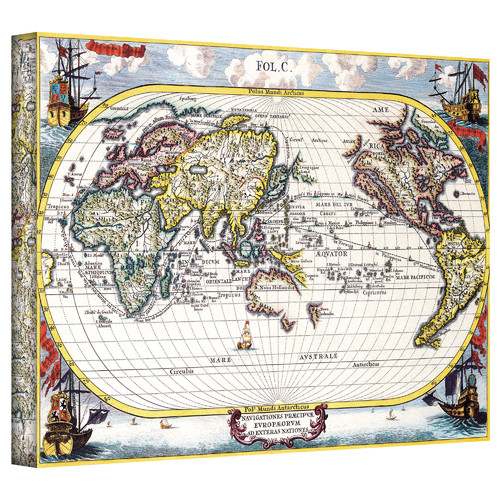 ArtWall Antique ''Navigationes Praecivae Evropaeorvm Antique Map'' Graphic Art on Canvas