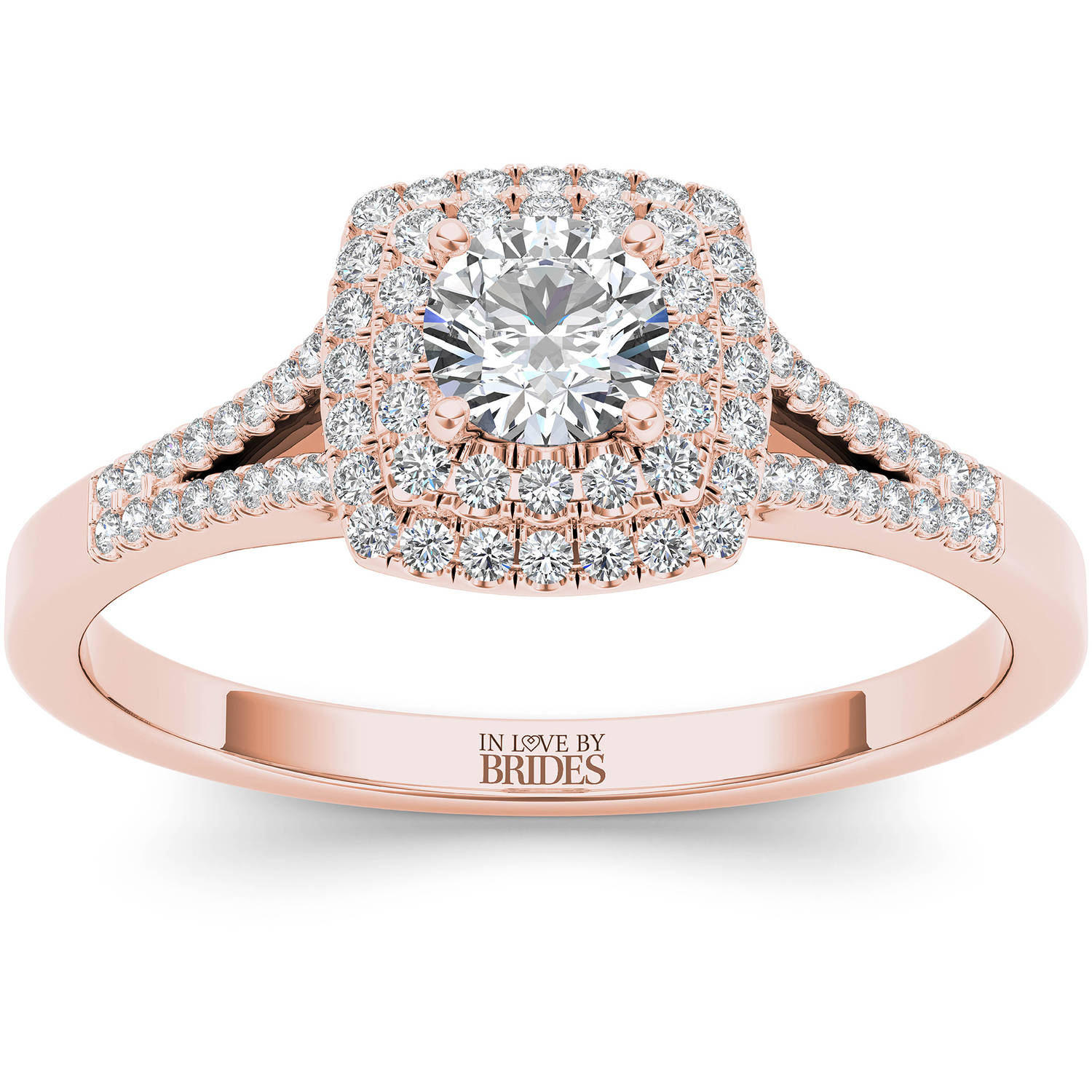 IN LOVE BY BRIDES 1/2 Carat T.W. Certified Diamond Double Halo 14kt Pink Gold Engagement Ring