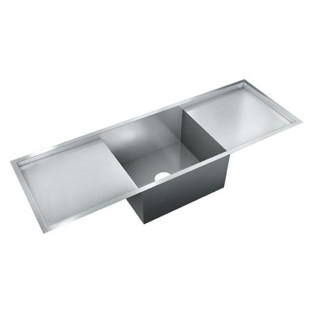 Just Manufacturing 52\'\' L x 18\'\' W Single Bowl Flush Mount Kitchen Sink