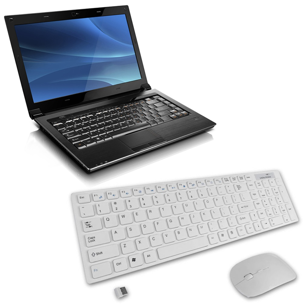 Multimedia 2.4G Wireless Keyboard With Optical Mouse USB Dongle Combo SetOn Sale