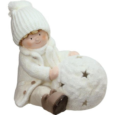 Northlight 12.5 in. Sitting Boy with Tea Light Snowball Christmas Candle Holder ()