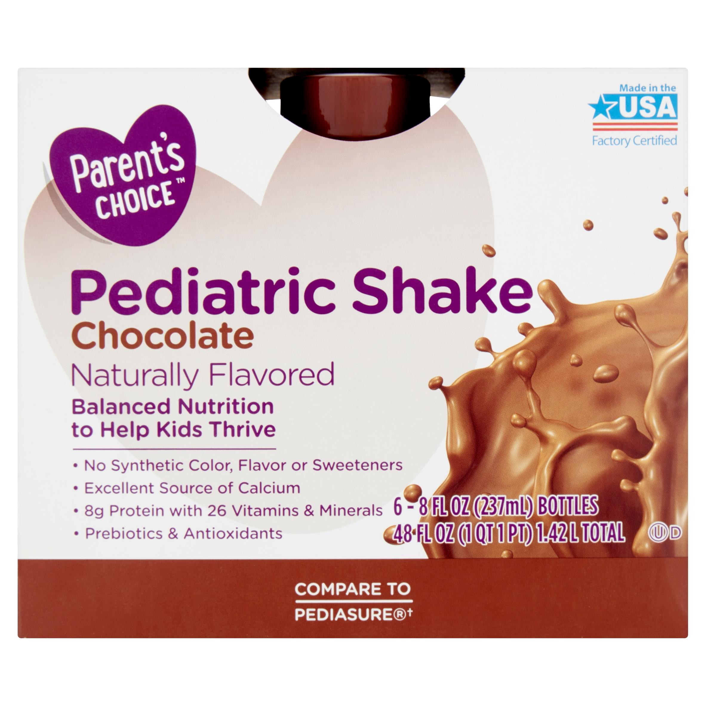 Parent's Choice Chocolate Pediatric Shake, 8 fl oz, 6 count