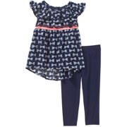 Toddler Girls' Ruffled Chiffon Tunic and Knit Denim Leggings Outfit Set