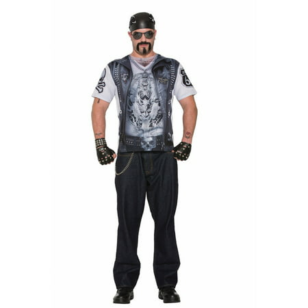 Spirt Costume (Mens Sublimation Biker Guy Shirt Halloween)