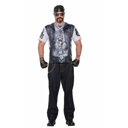Mens Sublimation Biker Guy Shirt Halloween Costume