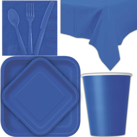 Disposable Party Supplies for 28 Guests - Royal Blue - Square Dinner Plates, Square Dessert Plates, Cups, Lunch Napkins, Cutlery, and Tablecloths:  Tableware Set
