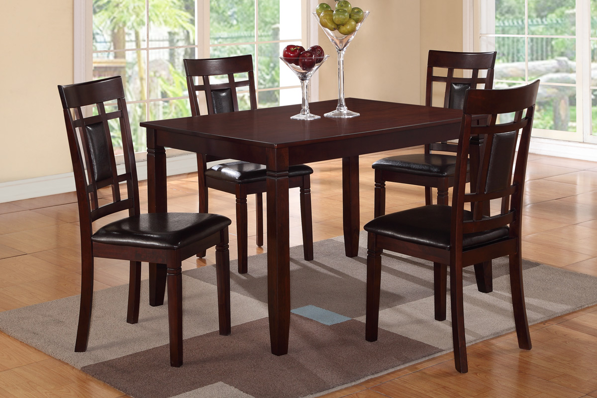Poundex F2232 Espresso Rectangular Dining Table And Chairs 5 Pc Set