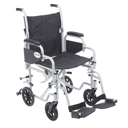 Drive Medical Poly Fly Light Weight Transport Chair Wheelchair With Swing Away Footrests  18   Seat