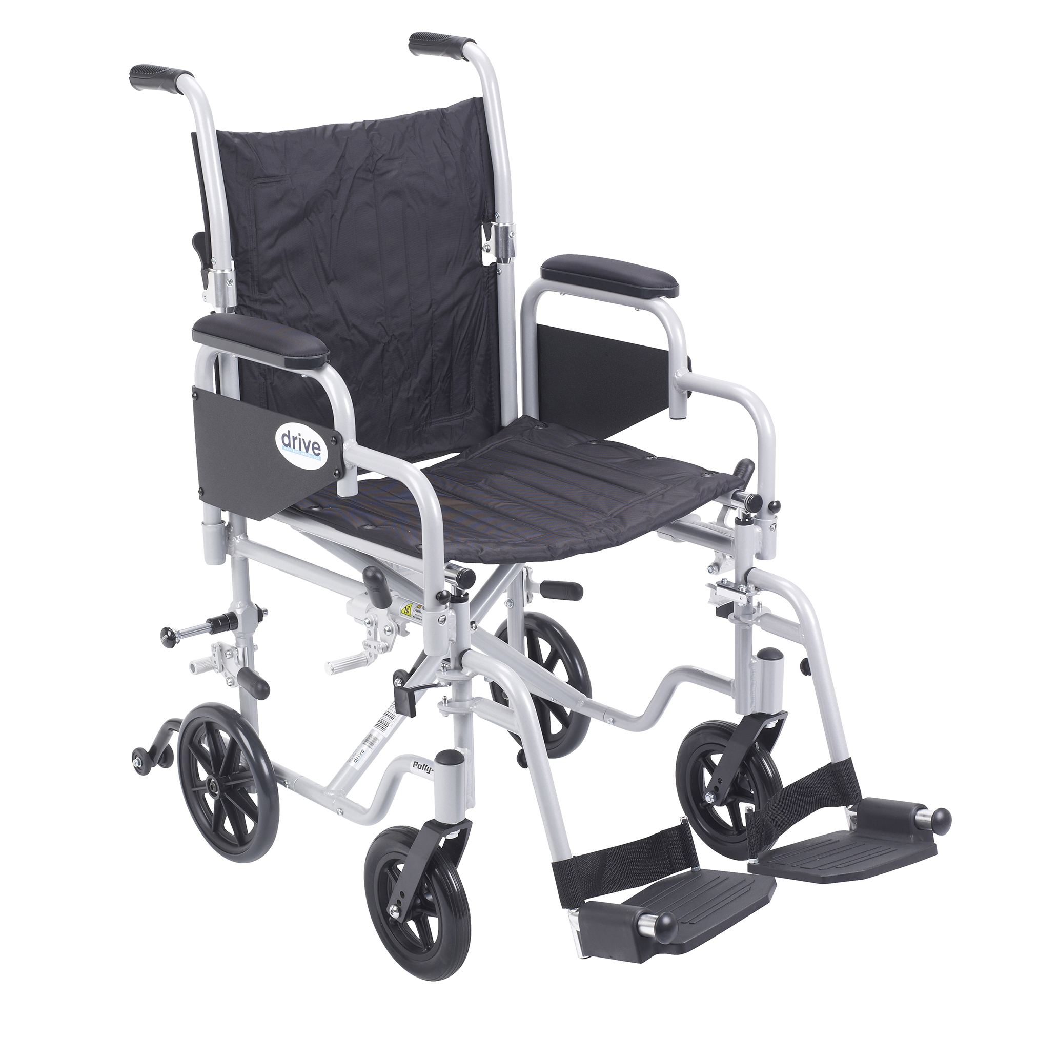 "Drive Medical Poly Fly Light Weight Transport Chair Wheelchair with Swing away Footrests, 18"" Seat"