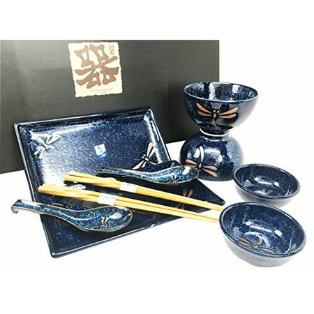 Sushi Set For Two - Japanese Tombo Dragonfly Blue Motif Ceramic Sushi Dinnerware 10pc Set For Two Consisting Pairs of Sushi Plates Soup Sauce Bowls Chopsticks Soup Spoons Great Housewarming Gift For Sushi Asian Dining