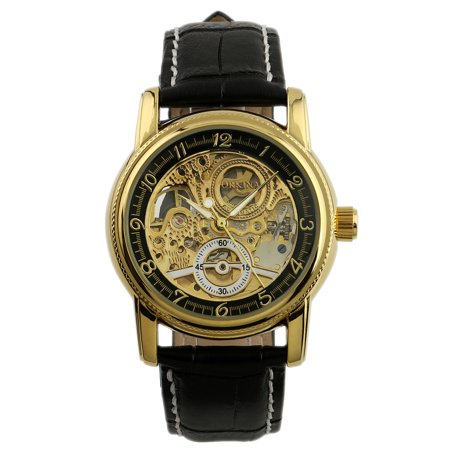 Tritium Self Luminous (Golden Black Automatic Mechanical Mens Watch Self-winding Luminous Hands)