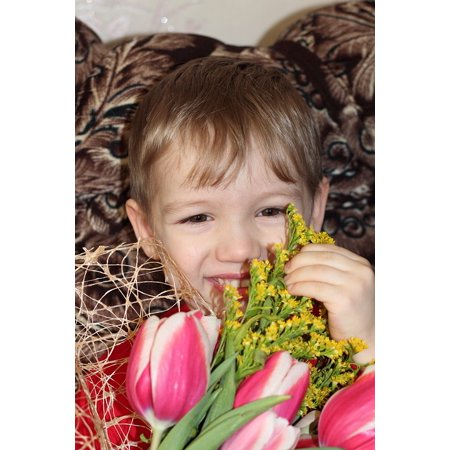LAMINATED POSTER Smile Teeth Bouquet Child Boy Flowers Poster Print 11 x 17
