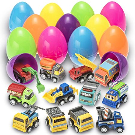 Prextex Toy Filled Easter Eggs Filled with Pull-Back Construction Vehicles](Toy Eggs)