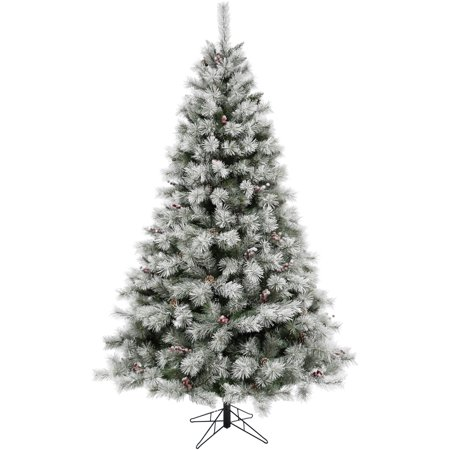 Fraser Hill Farm 6.5-Ft Homestead Pine Frosted Christmas Tree with Pinecones and Berries and Metal Stand ()