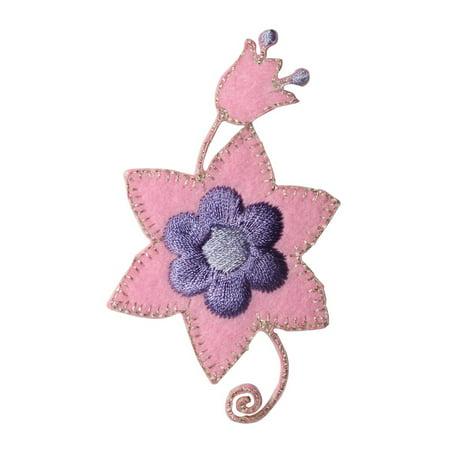 ID 8659 Pink Flower Craft Patch Garden Plant Felt Embroidered Iron On Applique](Felt Flower Crown)