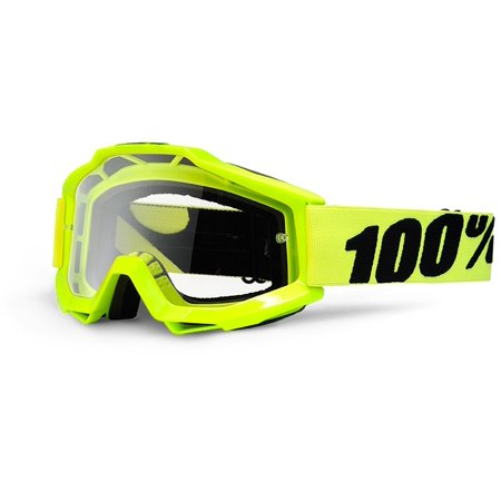 100% Accuri Clear Lens Youth MX Goggles Fluorescent Yellow