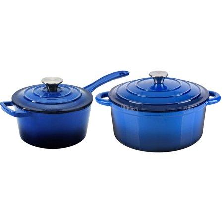 Hamilton Beach 5.5 Quart Dutch Oven Pot & 2 Quart Cast Iron Sauce Pan, - Cast Iron Sauce Pot
