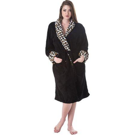 Casual Nights Women's Solid/Animal Trim Fleece Plush Robe - Heart Fleece Robe