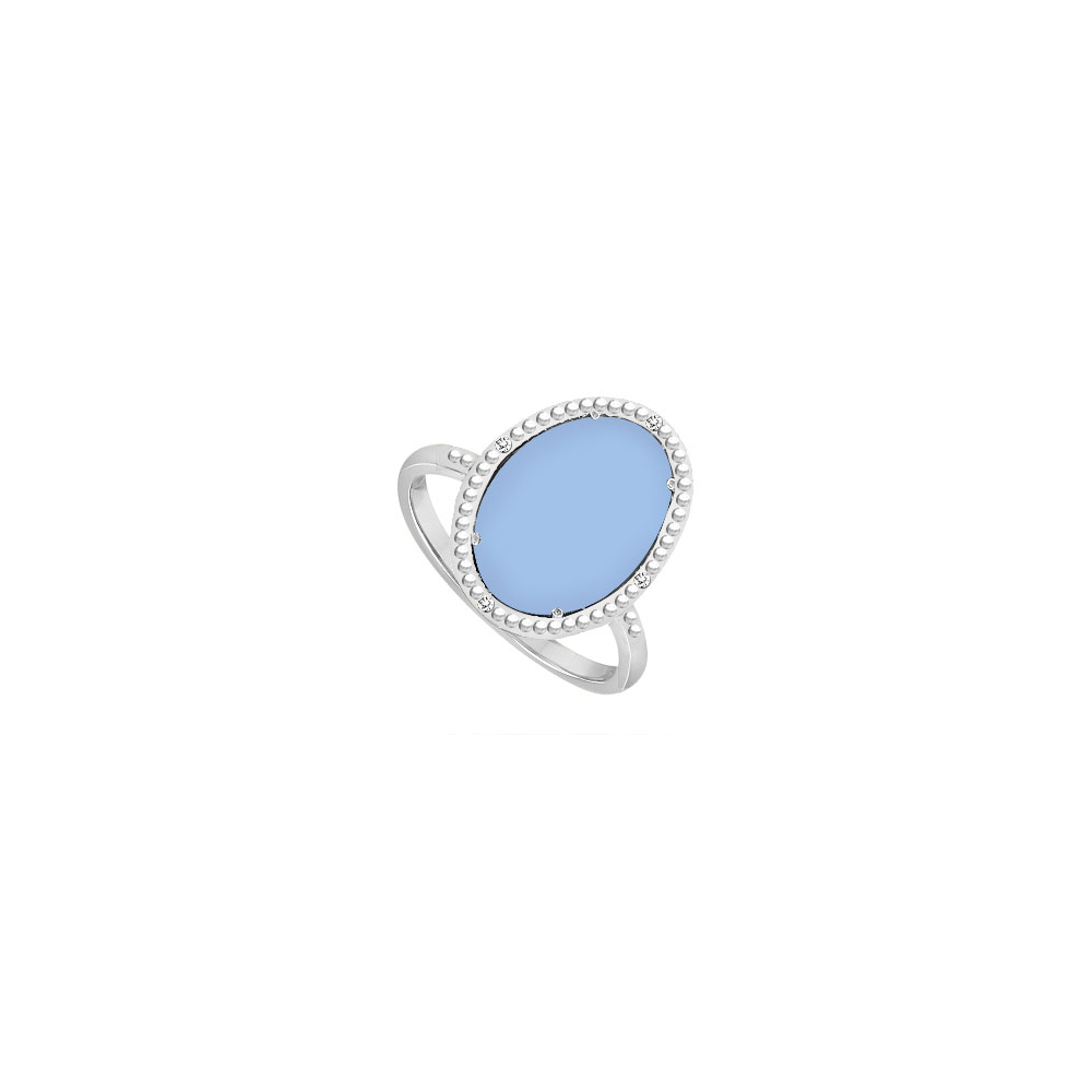 Sterling Silver Aqua Chalcedony and Cubic Zirconia Ring 15.08 CT TGW by Love Bright
