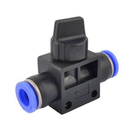 Quarter Turn Switch Blue Black Plastic 8mm Hose Pipe Fitting