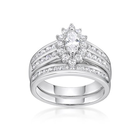 Mistral Set Ring - Sterling Silver Simulated Diamond Marquise Bridal Set Ring