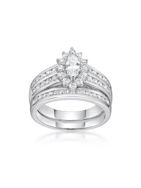 Sterling Silver Simulated Diamond Marquise Bridal Set Ring