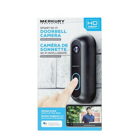 Merkury Innovations Smart Doorbell With 1080p Camera - Black