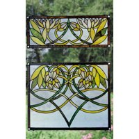 Waterlily 2-Pc Stained Glass Window