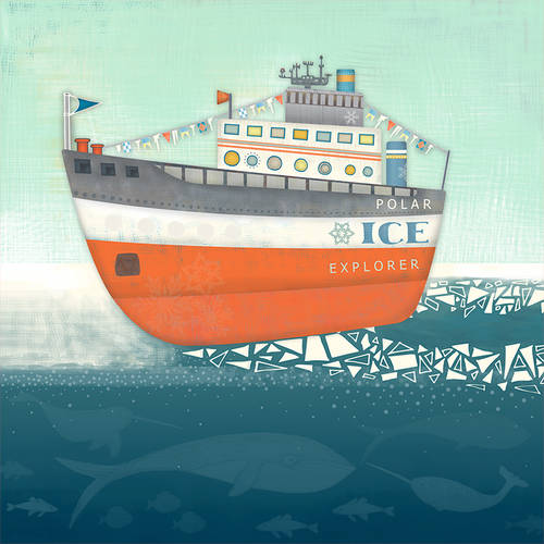 Oopsy Daisy - Polar Ice Explorer Canvas Wall Art 18x18, Harriet Mellor