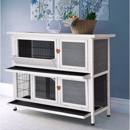 Lovupet 2 Story Outdoor Wooden Rabbit Hutch Bunny Cage Guinea Pig House with Ladder for Small Animals Grey ()