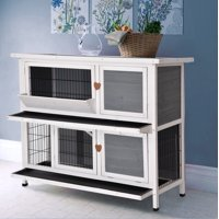 Lovupet 2 Story Outdoor Wooden Rabbit Hutch Bunny Cage Guinea Pig House with Ladder for Small Animals Grey