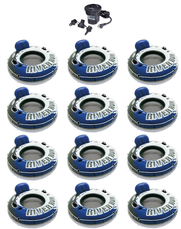 INTEX River Run I Inflatable Floating Tubes (Set of 12) & Quick Fill Air Pump by Intex