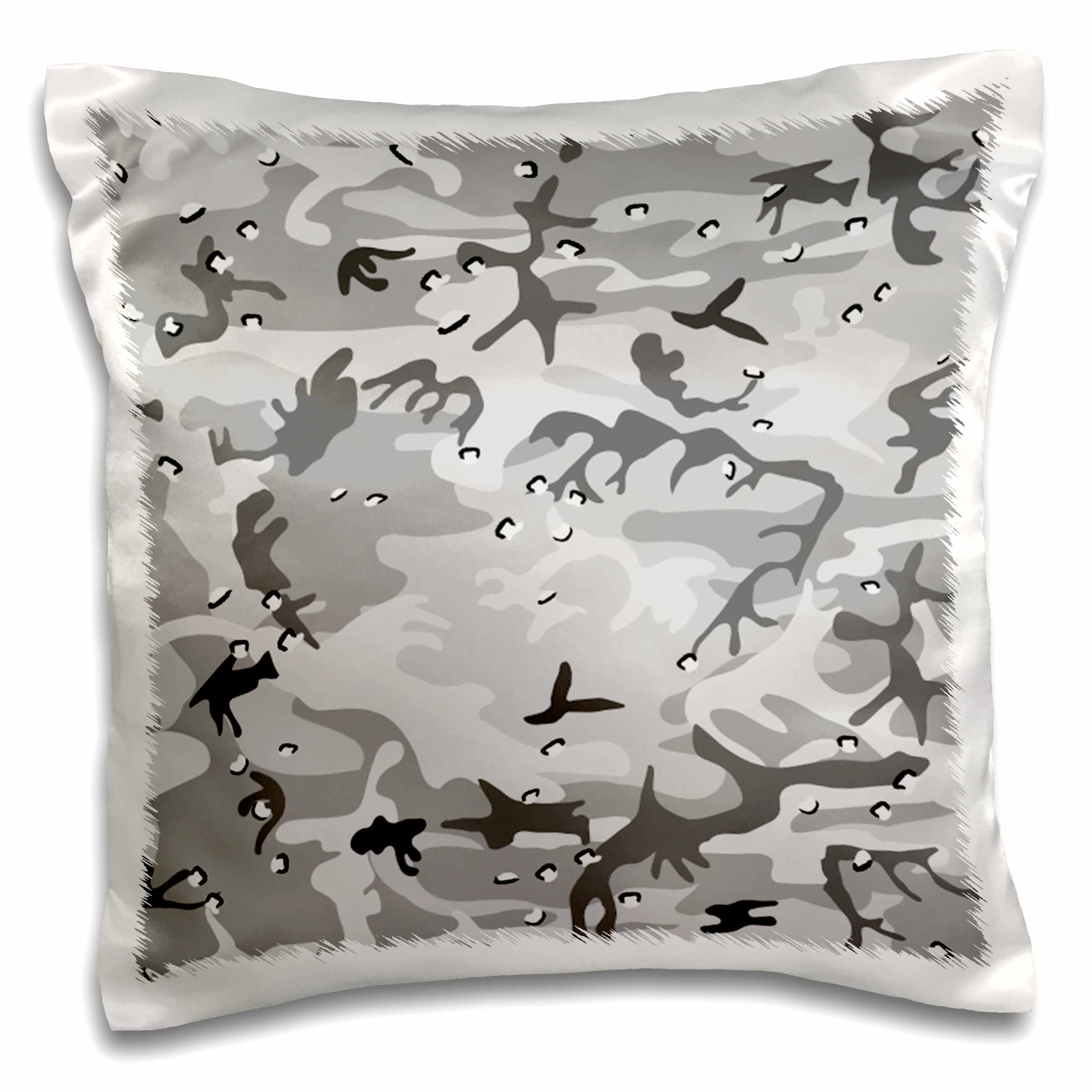 3dRose Winter Gray Camouflage Pattern, Pillow Case, 16 by 16-inch