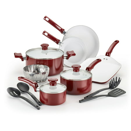 T-fal, Celebrate Ceramic 14 Pc. Set, PTFE-free and PFOA-free, Dishwasher Safe Cookware, Red, C992SE