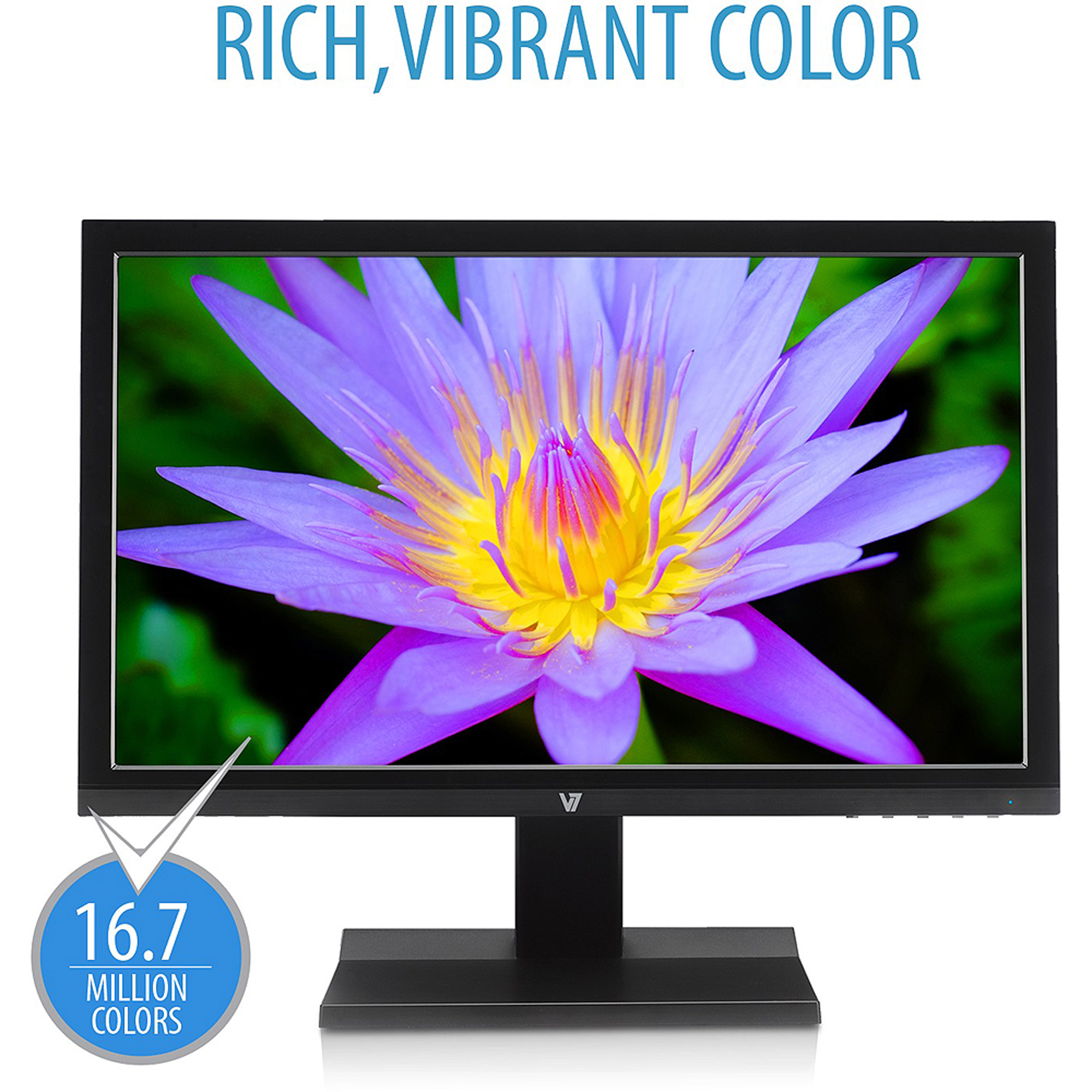 "V7 19"" Class Widescreen LED Monitor with Built-in Speakers (L18500WS-9N Black)"