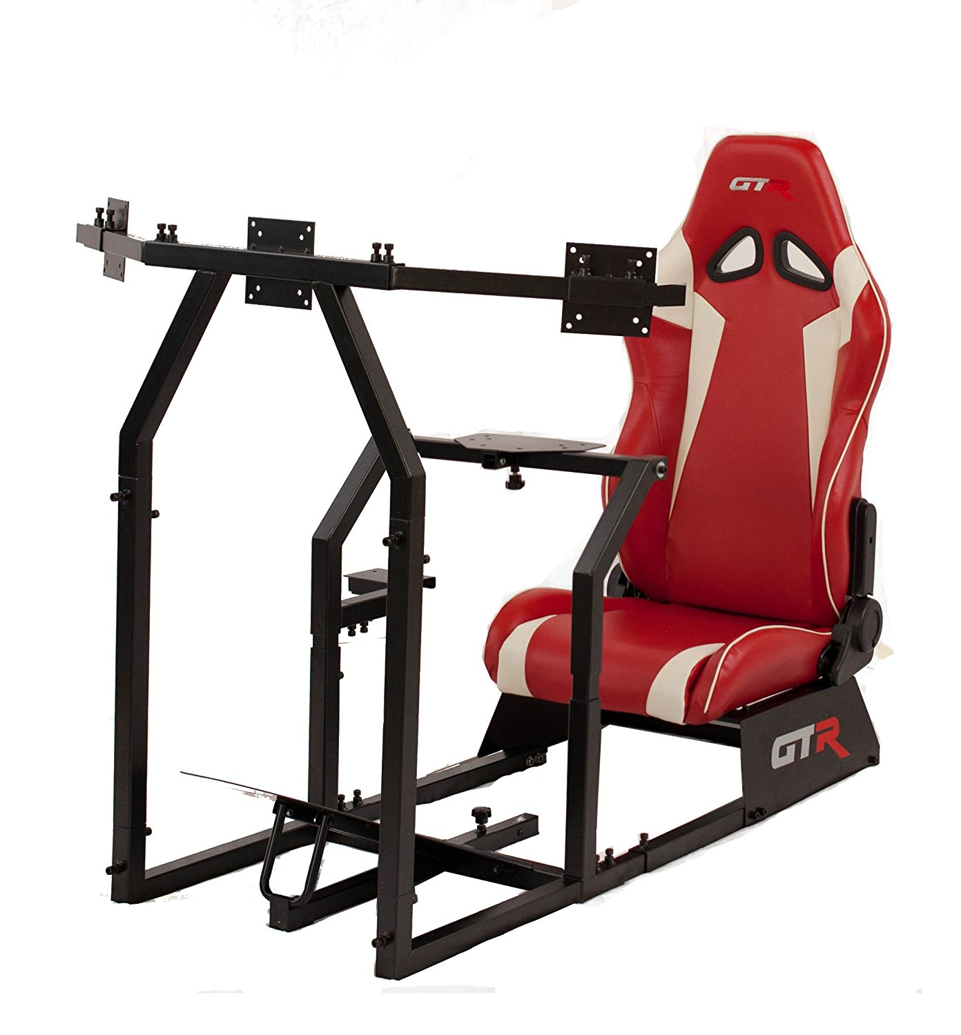 GTR Racing Simulator GTAF-BLK-S105LRDWHT - GTA-F Model (Black) Triple or Single Monitor Stand with Red/White Adjustable Leatherette Seat, Racing Simulator Cockpit gaming chair Single Monitor Stand